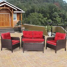 4 PCS Outdoor Patio Rattan Wicker Furniture Set Sofa Loveseat W/Red Cushion New