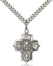Sterling Silver First Communion Five-Way Medal Millennium Crucifix, 7/8 Inch