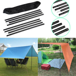 2X 2M Adjustable  Portable Telescopic Steel Tent Poles Awning Camping Waterproof