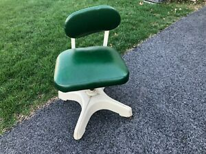 Vintage Mid-Century Modern Office Chair- Dark Green! INDUSTRIAL nice fabric