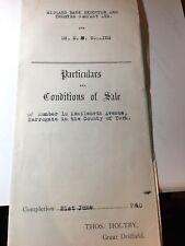 1940 Condition Of Sale Mortgage Document for Kenilworth Avenue Harrogate N Yorks