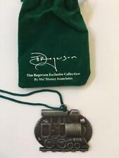 Crate & and Barrel TIM ROGERSON Metal ORNAMENT- TRAIN ENGINE- New in Velvet bag