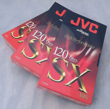 VHS Video Cassettes High Performance 3 JVC T-120 SX, New Individually Sealed