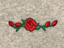 1 Rose Flower Vine Embroidery Iron/Sew On Patch Badge For Craft Leaf Bud Blossom