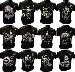 Horror Scope T-Shirt Mens star sign quirky gift gothic eerie burton Horoscope