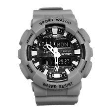 Mans Teenager Boy Digital Waterproof Alarm Sports Outdoors Wrist Watch Stopwatch Gray