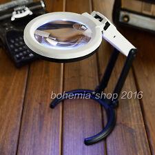 2x 5x Fach Leuchtlupe Handlupe Tisch Lupen mit 12 LED Vergrößerungsglas Leselupe