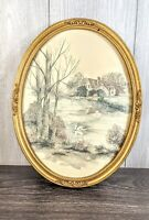 VTG HOMCO OVAL FRAMED GOLD WALL PLAQUE COUNTRY SWAN LAKE COTTAGE PICTURE 3280