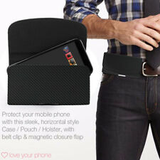 Horizontal Belt Clip Quality Pouch Holster Top Flip Case Holder✔Carbon Black