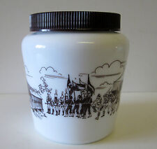 VINTAGE Milk Glass BROWN OCTOBERFEST PARADE SCENE Mustard Moutarde Jar