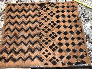 "Africa Kuba Cloth Natural Woven Raffia Congo Fabric 24"" x 20"""