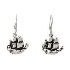 STERLING SILVER CARRIBEAN PIRATE SHIP EARRINGS