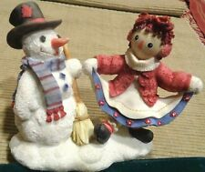 Vtg Raggedy Ann Andy Snowman Figurine Friends Forever No Matter Weather Enesco
