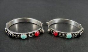 Hoops Multi Color Stones Turquoise Onyx Pierced Sterling 925 Silver Earrings