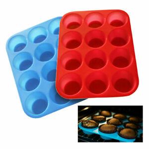 Silicone Muffin Cupcake Baking Pan Baking Cups Bakeware 12 Cake Molds 2 Pack US