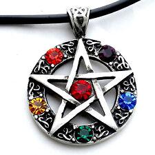 Pentacle Pentagram Star Wicca Infinity Stones Elemental Crystal Pewter Pendant
