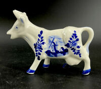 "Vintage Hand Painted Delft Blue Color Cow Creamer Windmill Flowers 6"" Porcelain"