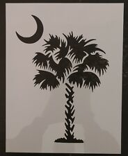 "South Carolina Palmetto Moon Palm Tree 8.5"" x 11"" Stencil FAST FREE SHIPPING"