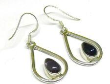 Handmade in 925 Sterling Silver, Real Amethyst Framed Teardrop Drop Earrings