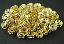 3X8mm Gold Plated Rondelle Clear Crystal Rhinestone Craft Spacer Beads 100pcs