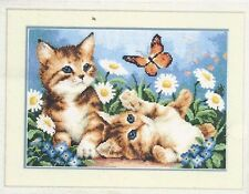 Kittens In The Flowers-Butterfly-2 Cats-Counted Cross Stitch Kit