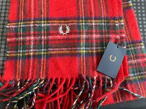 Fred perry Wool Royal Stewart Tartan Scarf  Red