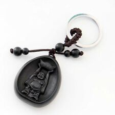 Ebony Tibet Buddhist Happy Buddha Money Amulet Alloy Metal Keyring Keychain