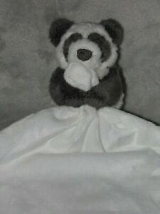 THE LITTLE WHITE COMPANY PANDA COMFORTER SOFT TOY WHITE BLANKIE DOUDOU