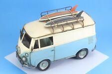 "Vintage Style Blue Volzwagon Metal Vw Van With Surf Boards 12.5"" X 8""."