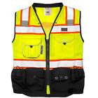 Vero1992 (C) Vest Mens Class 2 Black Series Safety Vest With Zipper