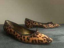 New PRADA Leopard Print Calf Hair Pointed Toe Bow Shoes Ballet Flats 36.5