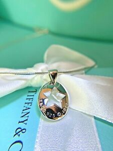 """Authentic Tiffany & Co. Sterling Silver Stencil Star Necklace 16"""" Mesh Chain"""