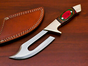 RARE HAND FORGED STAINLESS STEEL HUNTING KNIFE-HARD WOOD HANDLE-PK-3023