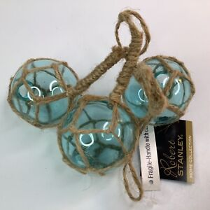"4"" Robert Stanley Blown Glass Blue BOBBERS Ocean sea Theme Ornament NEW W/TAG"