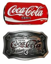 Coca Cola  Soda Can and Vintage Design Themed Enamel Metal Belt Buckle Set of 2