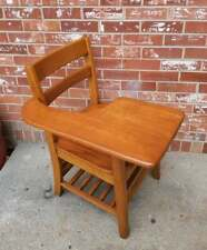 Vintage Child's School Desk Solid Oak Wood Right Hand Book Cubby 31.5""