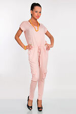 Stunning Women's Jumpsuit With Pockets Short Sleeve Catsuit Size 8-12 FK1257