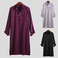 Men Ethnic Islamic Muslim Maxi Dress Kaftan Long Sleeve Baggy Formal Top Summer