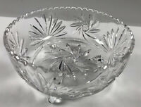 "Vtg Clear Crystal Glass Bowl. Fans-3 Footed.Star of David Hand Cut. 8.5 X 4.5""."