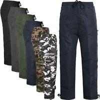 New Mens Polar Fleece Lined Warm Thermal Elasticated Cargo Combat Work Trousers