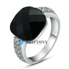 Man Women Black Onyx Wedding Rings Made With Swarovski Crystal Jewellery