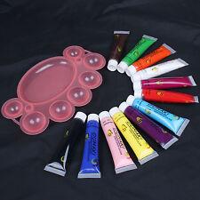 12 Colors 3D Paint Tube Draw Painting Acrylic Nail Art Tip UV Gel 12ml & Pallet