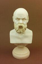 Socrates Alabaster sculpture statue philosopher bust patina aged