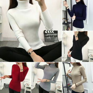 Womens Knitted Turtleneck Sweater Pullover Korean Casual Long Sleeve Tops Winter