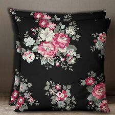Black Square Floral Print Decorative Cotton Poplin Pillow Sofa Cushion Cover