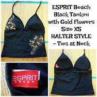 ESPRIT Beach Junior's Size X-Small Halter Tankini Swimsuit Top - Black with Gold