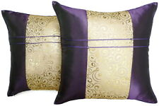 Set of Two Dark Purple Silk Throw Cushion Pillow Covers Case Gold Filigree