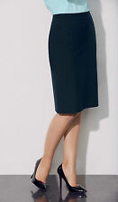 SIMON JERSEY NAVY BLUE PINESTRIPE SMART SKIRT OFFICE CORPORATE UNIFORM FS0880