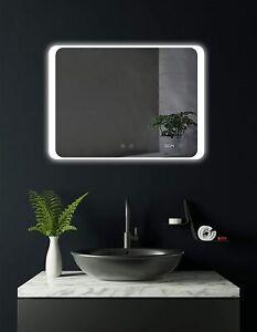 Badspiegel mit LED, Uhr, Heizung, LED beleuchtet Badzimmerspiegel, Wandspiegel