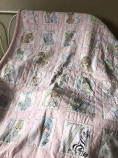 "Quilt Precious Moments Baby ABCs Alphabet Quilt Pink 45"" x 35"""" Animals"